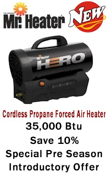 Mr Heater Cordless Propane Forced Air Hero Heater